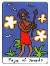 Page of Swords Tarot Card - African Tarot Deck