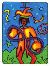 Two of Coins Tarot Card - African Tarot Deck