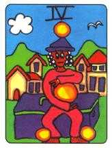 Four of Coins Tarot Card - African Tarot Deck