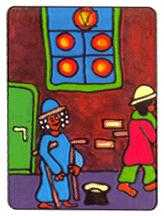 Five of Coins Tarot Card - African Tarot Deck