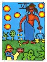 Six of Pentacles Tarot Card - African Tarot Deck