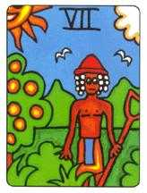 Seven of Buffalo Tarot Card - African Tarot Deck