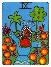 Nine of Coins Tarot Card - African Tarot Deck