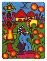 Ten of Pumpkins Tarot Card - African Tarot Deck
