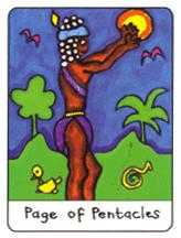 Page of Pentacles Tarot Card - African Tarot Deck