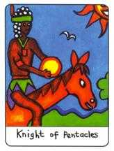 Knight of Pentacles Tarot Card - African Tarot Deck