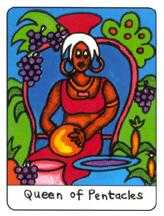 Queen of Coins Tarot Card - African Tarot Deck
