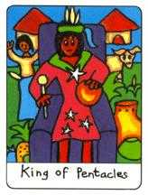 Master of Pentacles Tarot Card - African Tarot Deck
