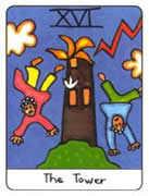 The Tower Tarot card in African Tarot deck