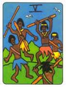 Five of Wands Tarot card in African Tarot Tarot deck