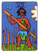 Seven of Wands Tarot card in African Tarot deck