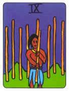 Nine of Wands Tarot card in African Tarot deck