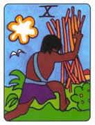 Ten of Wands Tarot card in African Tarot deck