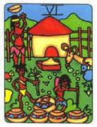 Six of Cups Tarot card in African Tarot Tarot deck