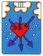 Three of Swords Tarot card in African Tarot deck