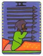 Nine of Swords Tarot card in African Tarot deck