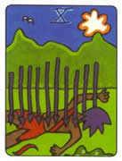 Ten of Swords Tarot card in African Tarot deck