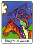 Knight of Swords Tarot card in African Tarot deck