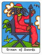 Queen of Swords Tarot card in African Tarot deck