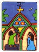 Three of Pentacles Tarot card in African Tarot deck