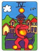 Four of Pentacles Tarot card in African Tarot deck