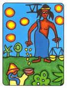 Six of Pentacles Tarot card in African Tarot deck