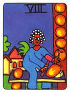 Eight of Pentacles Tarot card in African Tarot deck