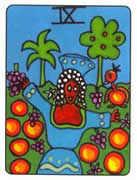 Nine of Pentacles Tarot card in African Tarot Tarot deck