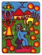 Ten of Pentacles Tarot card in African Tarot deck