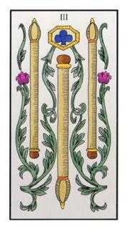Three of Batons Tarot Card - Angel Tarot Deck