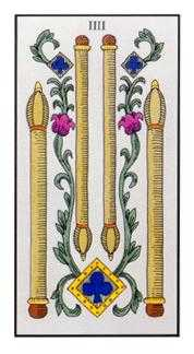 Four of Batons Tarot Card - Angel Tarot Deck