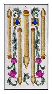 Five of Batons Tarot Card - Angel Tarot Deck