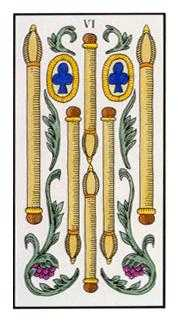 Six of Rods Tarot Card - Angel Tarot Deck