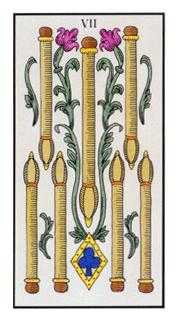 Seven of Rods Tarot Card - Angel Tarot Deck