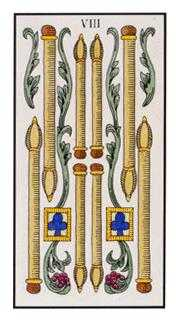 Eight of Staves Tarot Card - Angel Tarot Deck