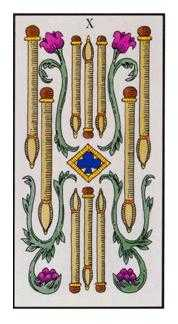 Ten of Staves Tarot Card - Angel Tarot Deck