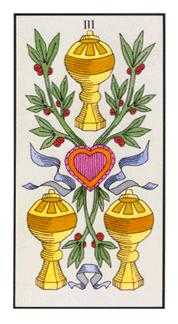 Three of Hearts Tarot Card - Angel Tarot Deck