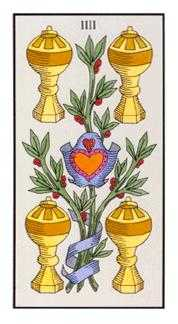 Four of Hearts Tarot Card - Angel Tarot Deck