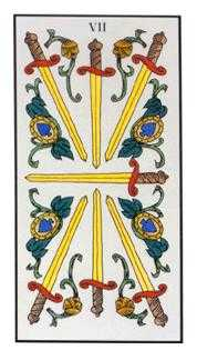 Seven of Arrows Tarot Card - Angel Tarot Deck