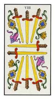 Eight of Spades Tarot Card - Angel Tarot Deck