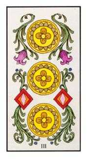 Three of Coins Tarot Card - Angel Tarot Deck