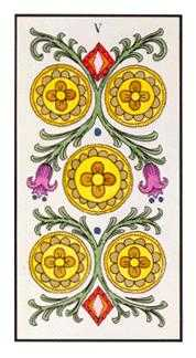 Five of Diamonds Tarot Card - Angel Tarot Deck