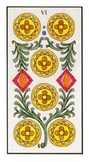 Six of Coins Tarot Card - Angel Tarot Deck