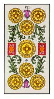 Seven of Coins Tarot Card - Angel Tarot Deck