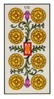 Eight of Coins Tarot Card - Angel Tarot Deck