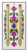 Two of Wands Tarot card in Angel Tarot deck
