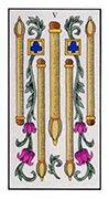 Five of Wands Tarot card in Angel Tarot deck
