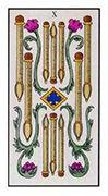 Ten of Wands Tarot card in Angel Tarot deck