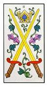 Two of Swords Tarot card in Angel Tarot deck