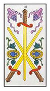 Three of Swords Tarot card in Angel Tarot deck